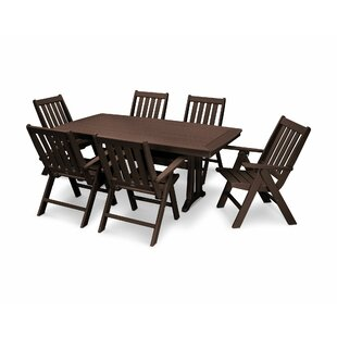 Vineyard Nautical Trestle 7 Piece Dining Set