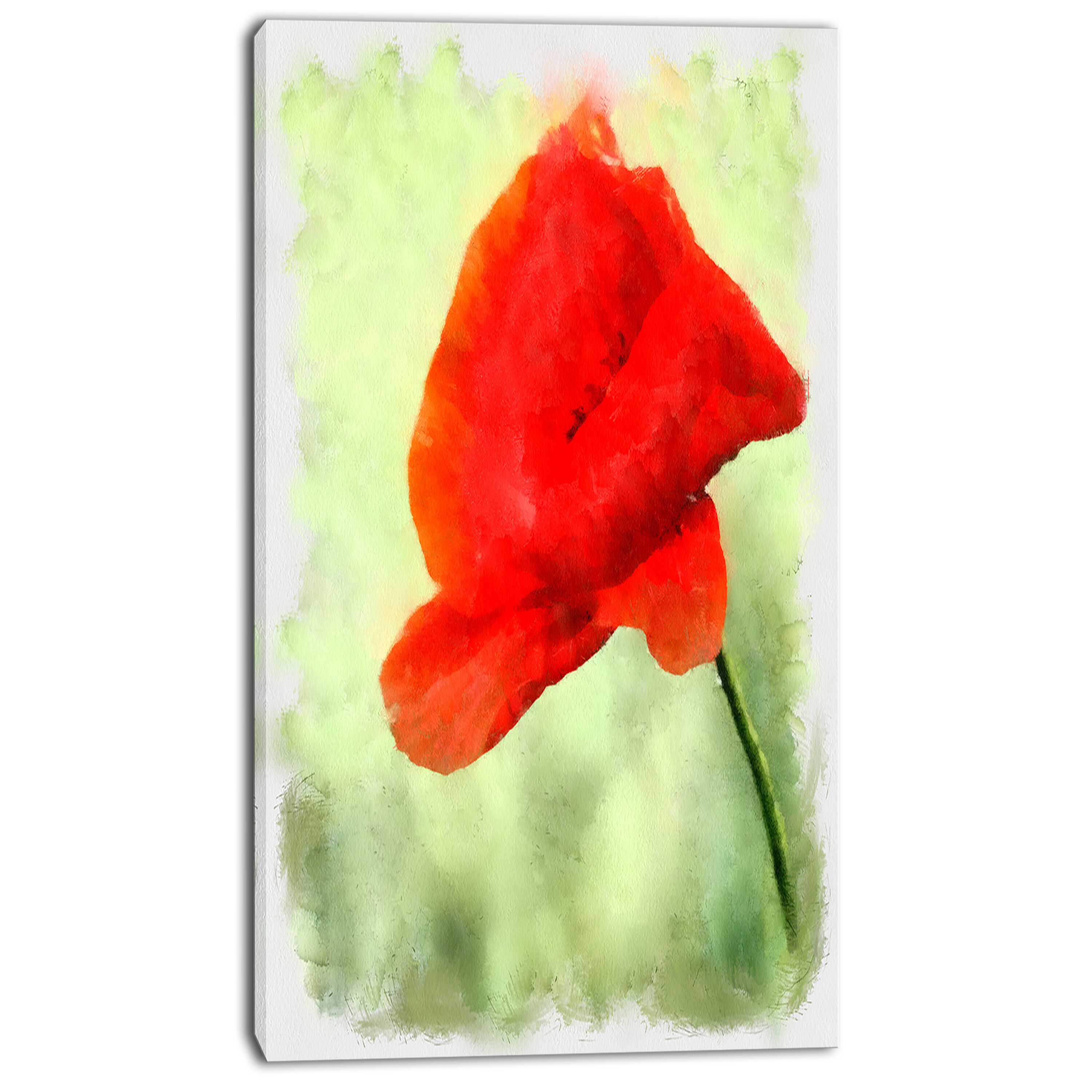 Designart Big Red Poppy Flower Watercolor Painting Print On