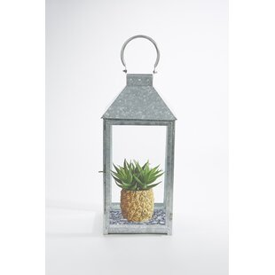 Bargain Vintage Glass and Metal Lantern By Mind Reader