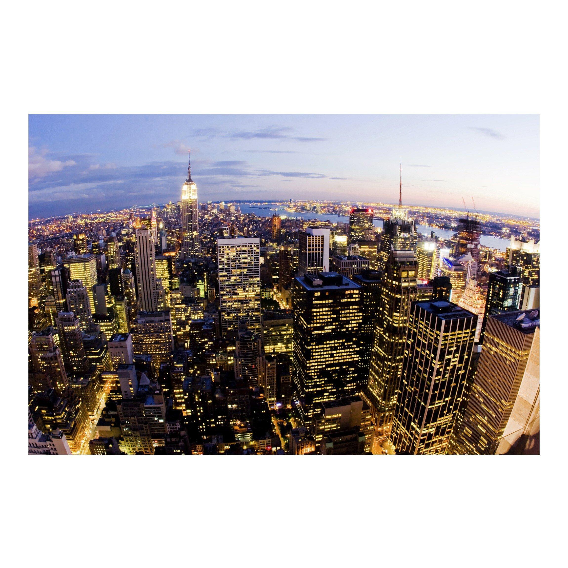 Brayden Studio Laperle New York Skyline At Night 2 25m X 336cm Wallpaper Roll Wayfair Co Uk