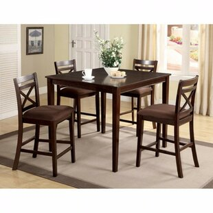 Faucher Transitional 5 Piece Counter Height Solid Wood Dining Set