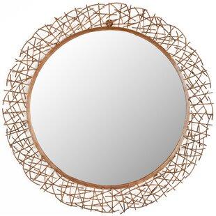 Brayden Studio Round Twig Wall Mirror