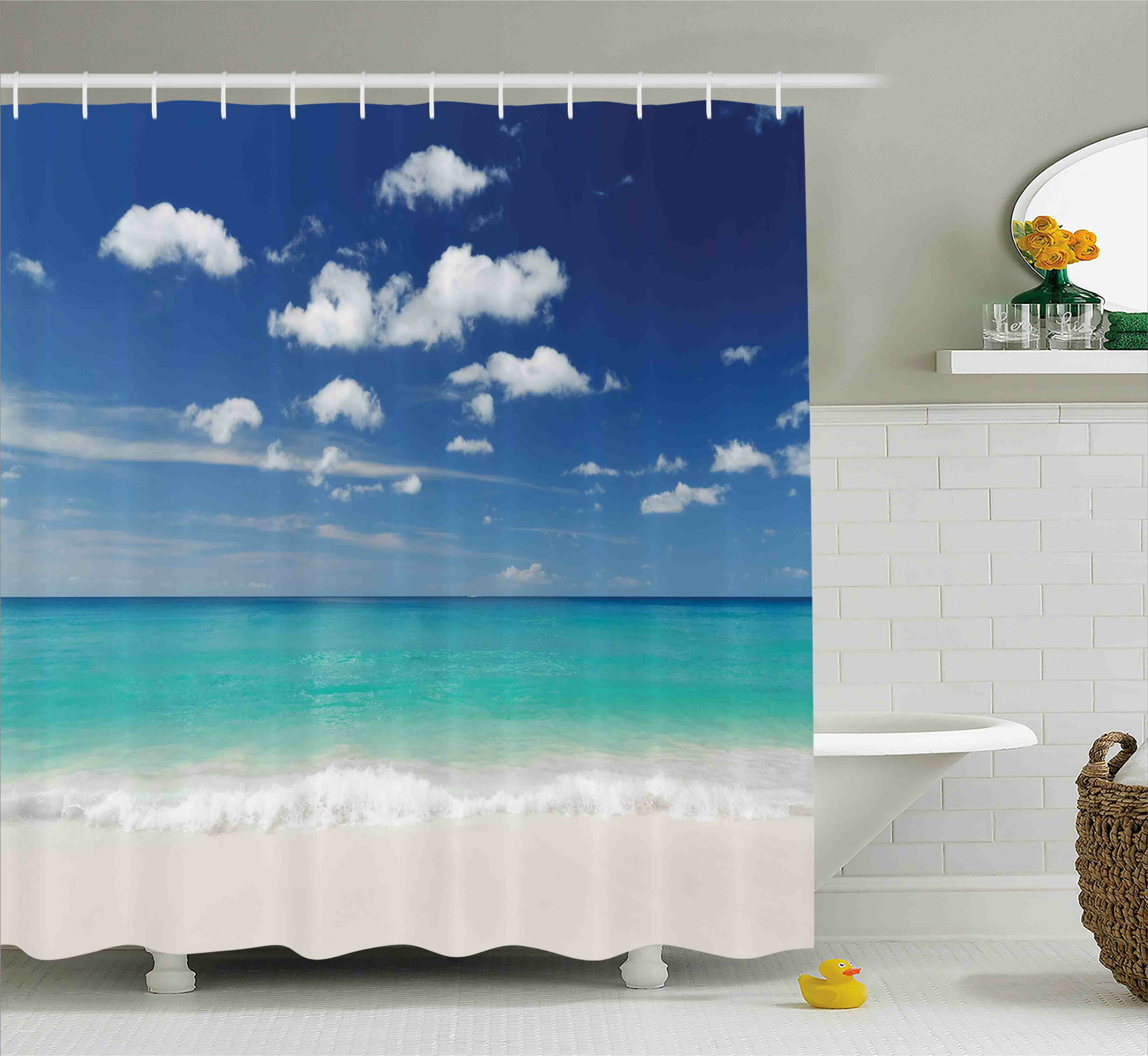 Ebern Designs Kelley Tropical Summer Beach With Exquisite Sky Relax Holiday Away Serene Coast Scenery Single Shower Curtain Wayfair