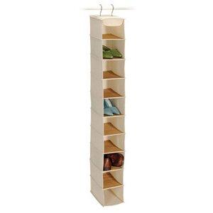 Richards Homewares Bamboo and Natural Canvas Storage 10 Shelf Shoe Organizer