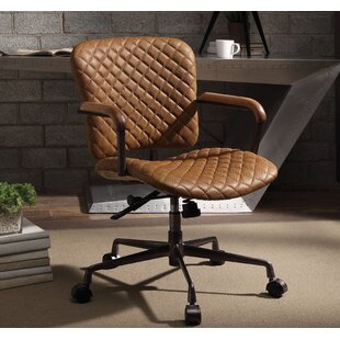 Demars Genuine Leather Office Chair : tan leather office chair - lorbestier.org