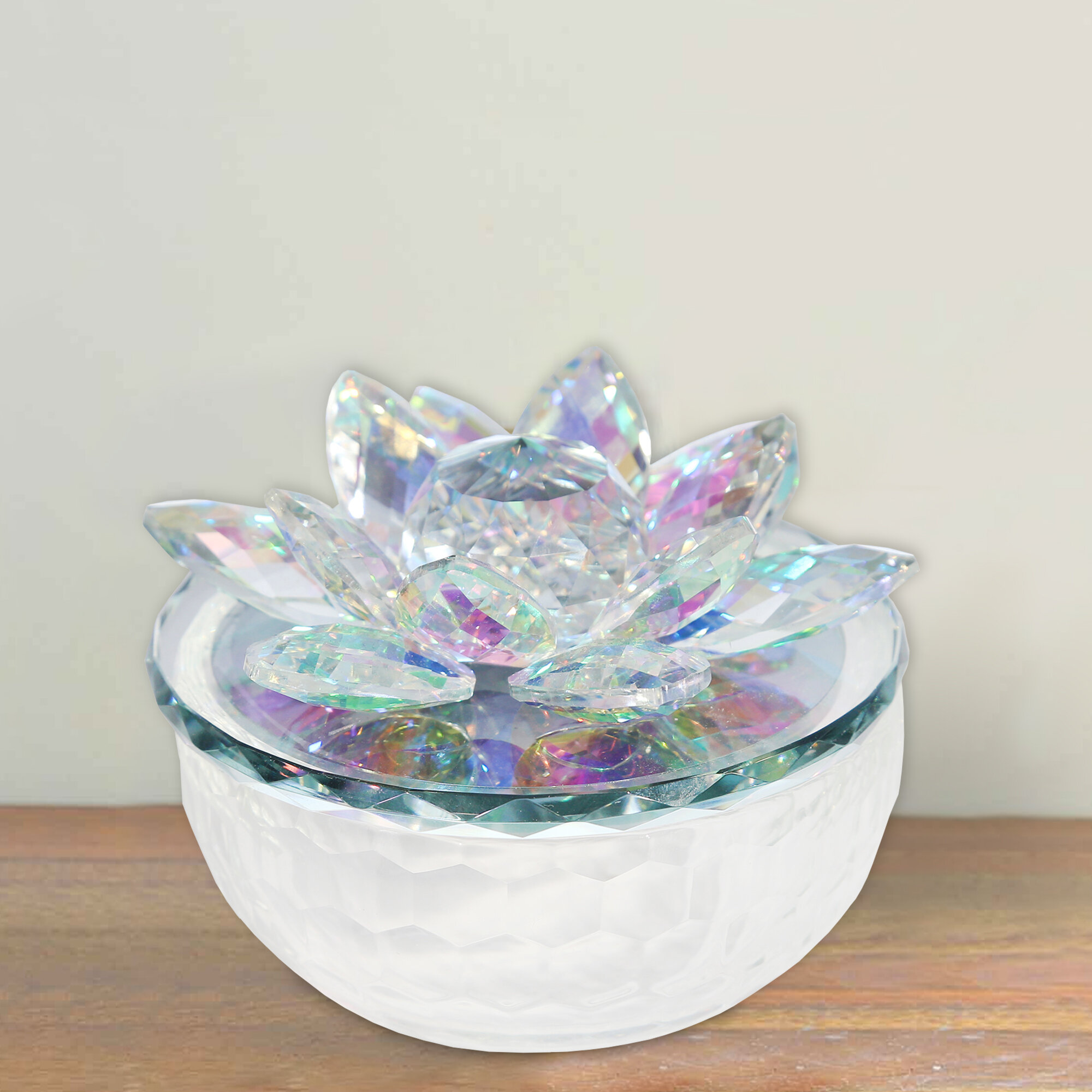 Rosdorf Park Tonkin Glass Trinket Accented With Crystal Lotus Flower Sculpture Reviews