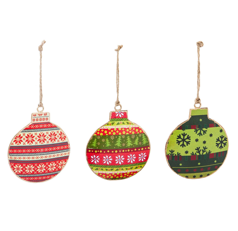 The Holiday Aisle 3 Piece Metal Round Christmas Ball Ornament Set Wayfair