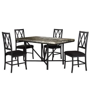 Cape Faux Concrete 5 Piece Dining Set