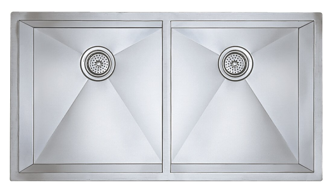 """Precision 37"""" x 18"""" Large Equal Double Bowl Kitchen Sink"""
