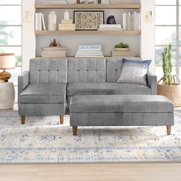 Mistana Cordell Reversible Sleeper Sofa Chaise With Ottoman Reviews Wayfair