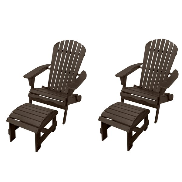 Breakwater Bay Maciel Solid Wood Folding Lightweight Adirondack Chair With Ottoman Wayfair