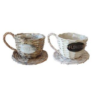 Serita Handmade Coffee Cup Wicker Pot Planter By August Grove