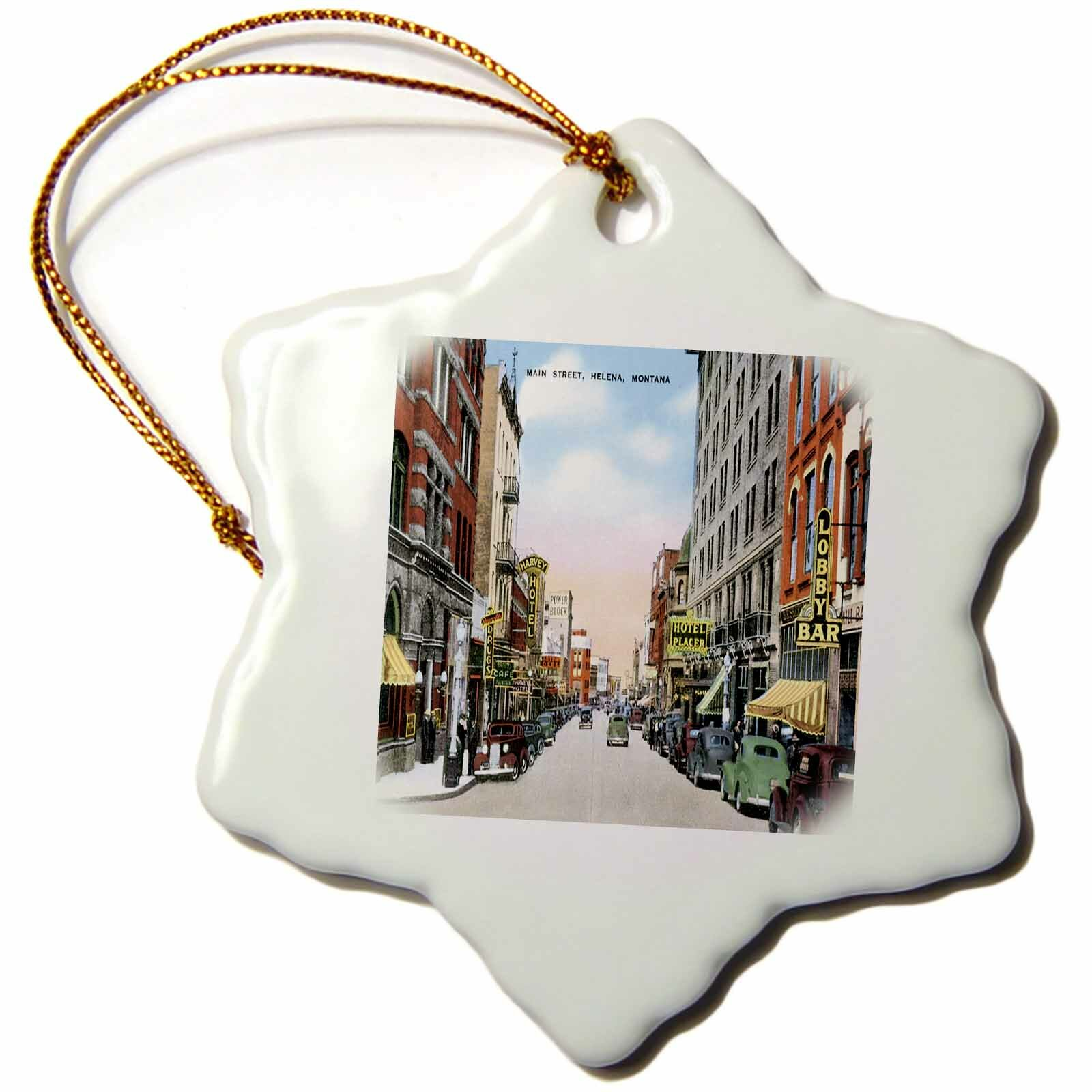 The Holiday Aisle Montana Street Scene With Antique Cars Snowflake Holiday Shaped Ornament Wayfair
