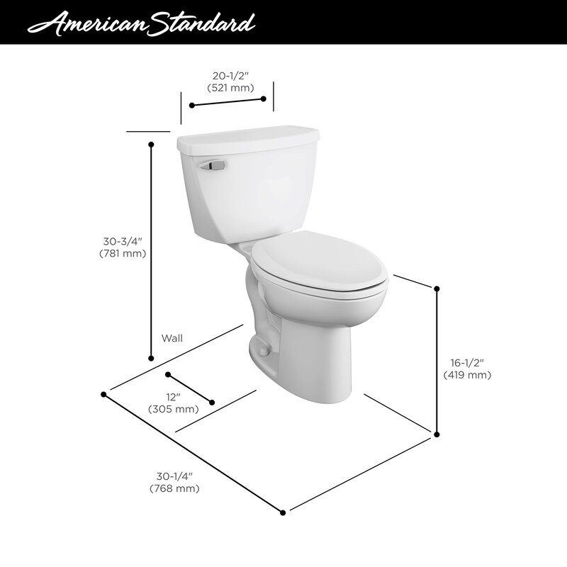 American Standard Cadet 1.6 GPF Elongated Two Piece Toilet (Seat