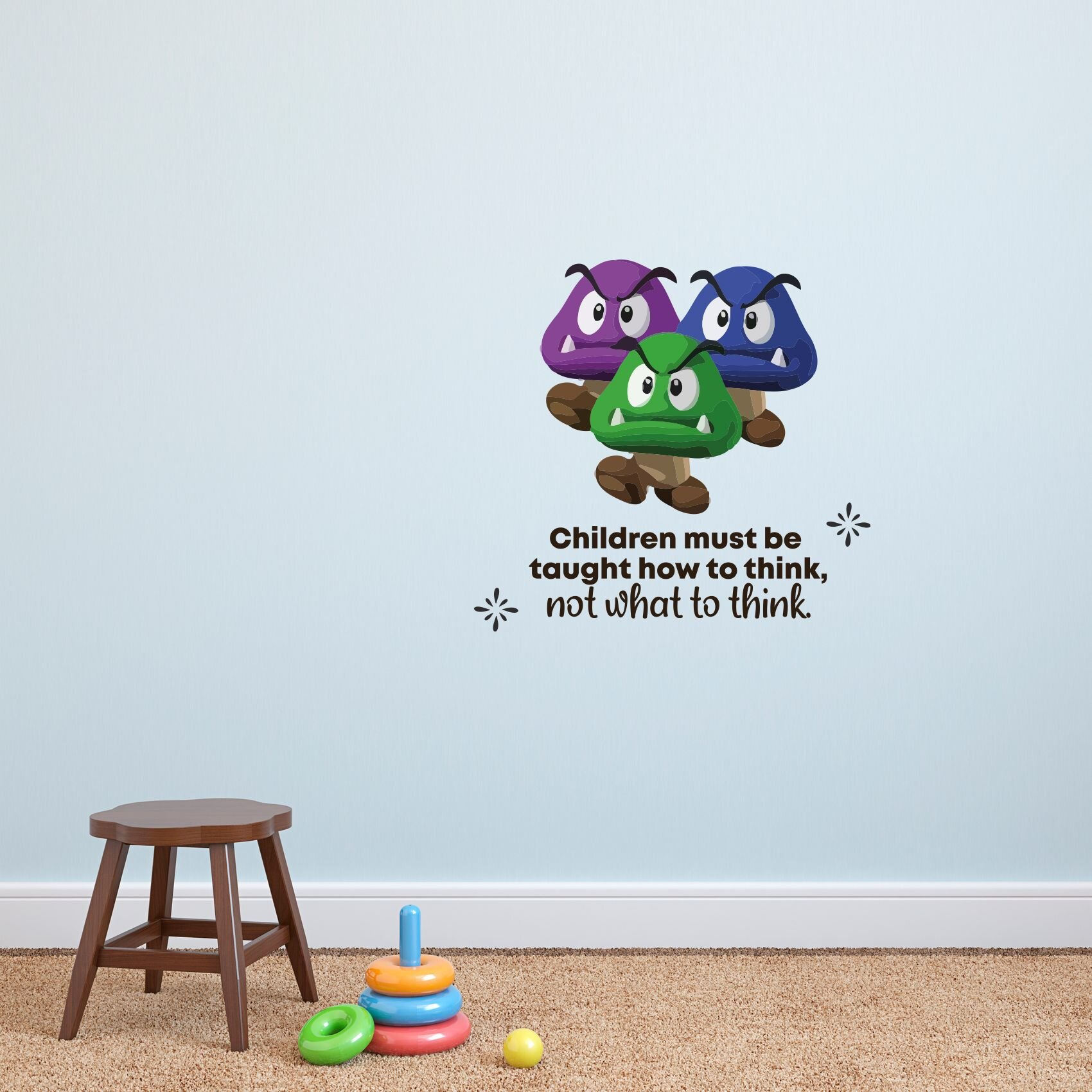 Design With Vinyl Think Goomba Super Mario Life Cartoon Quotes Wall Decal Wayfair