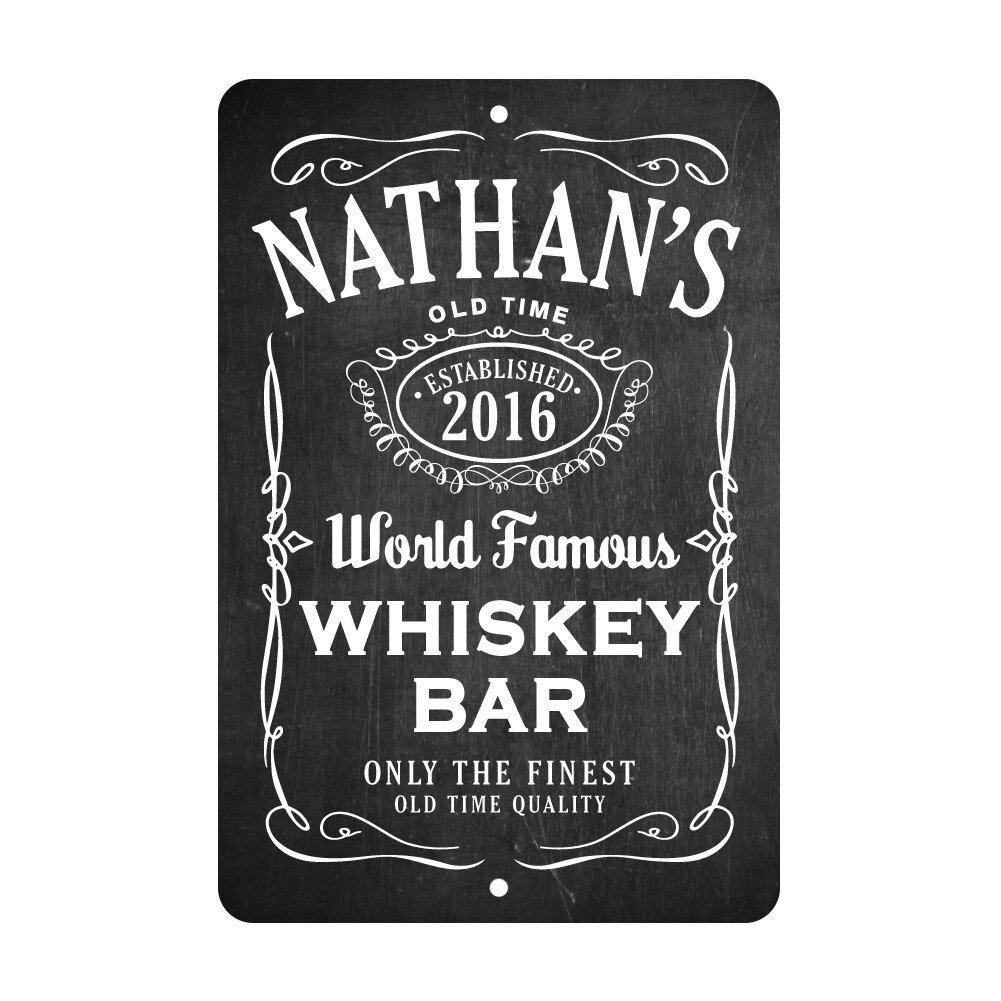 Personalized Chalkboard Whiskey Bar Room Sign Wall Décor