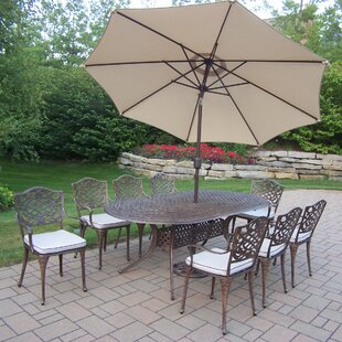 Oakland Living Mississippi 9 Piece Dining Set with Cushions and Umbrella