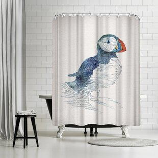 David Fleck Puffin Single Shower Curtain