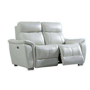 Latitude Run Meister Electric Leather Reclining Loveseat