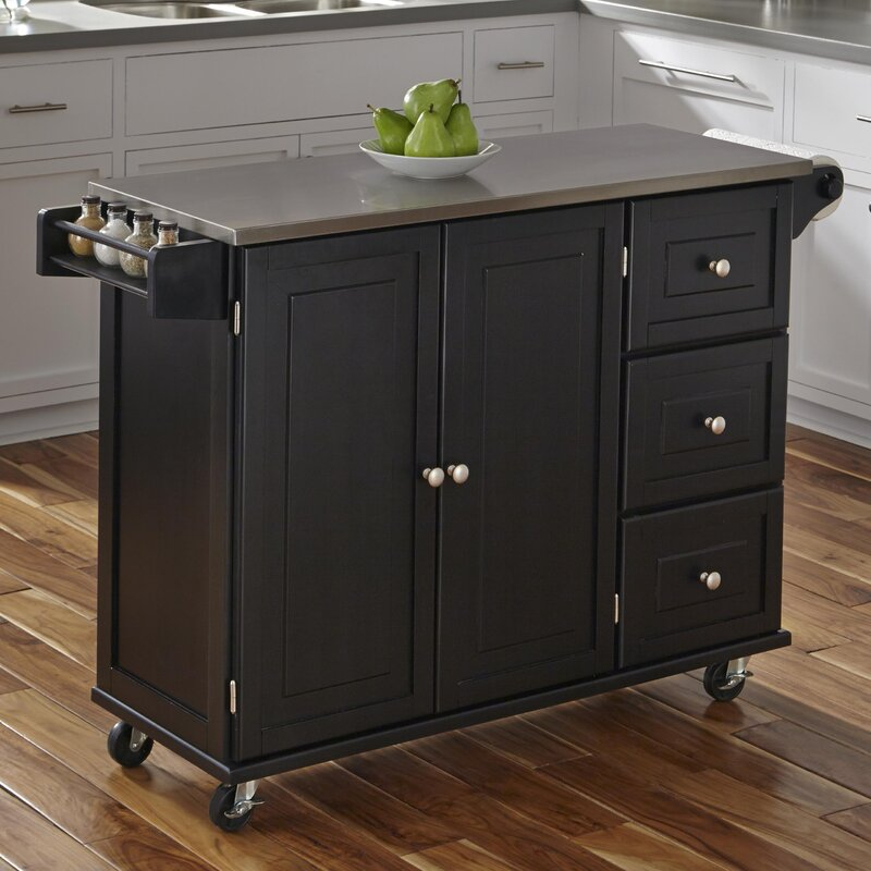 Andover Mills Kuhnhenn Kitchen Cart With Stainless Steel Top Reviews Wayfair
