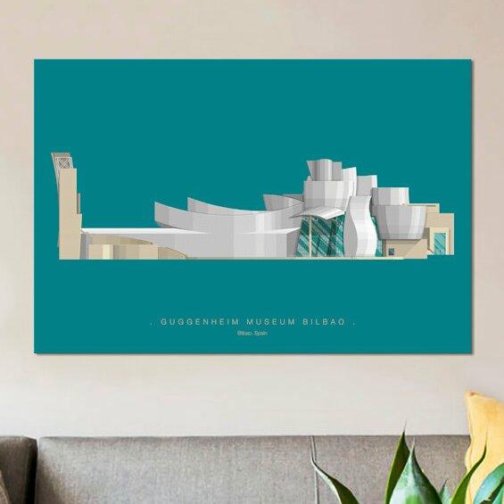 Weekino Espa/ña Museo Guggenheim Bilbao 副本 Decoraci/ón de Navidad /Árbol de Navidad Adorno Colgante Ciudad Viaje Colecci/ón de Recuerdos Porcelana 2.85 Pulgadas