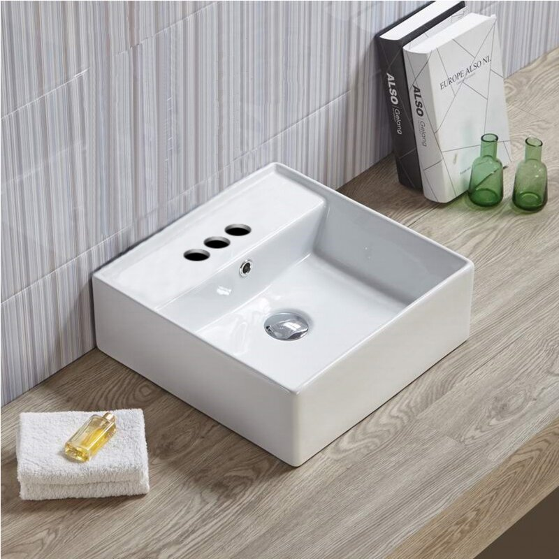 American Imaginations Above Counter Center Drilling Ceramic Square Vessel Bathroom Sink with Overflow