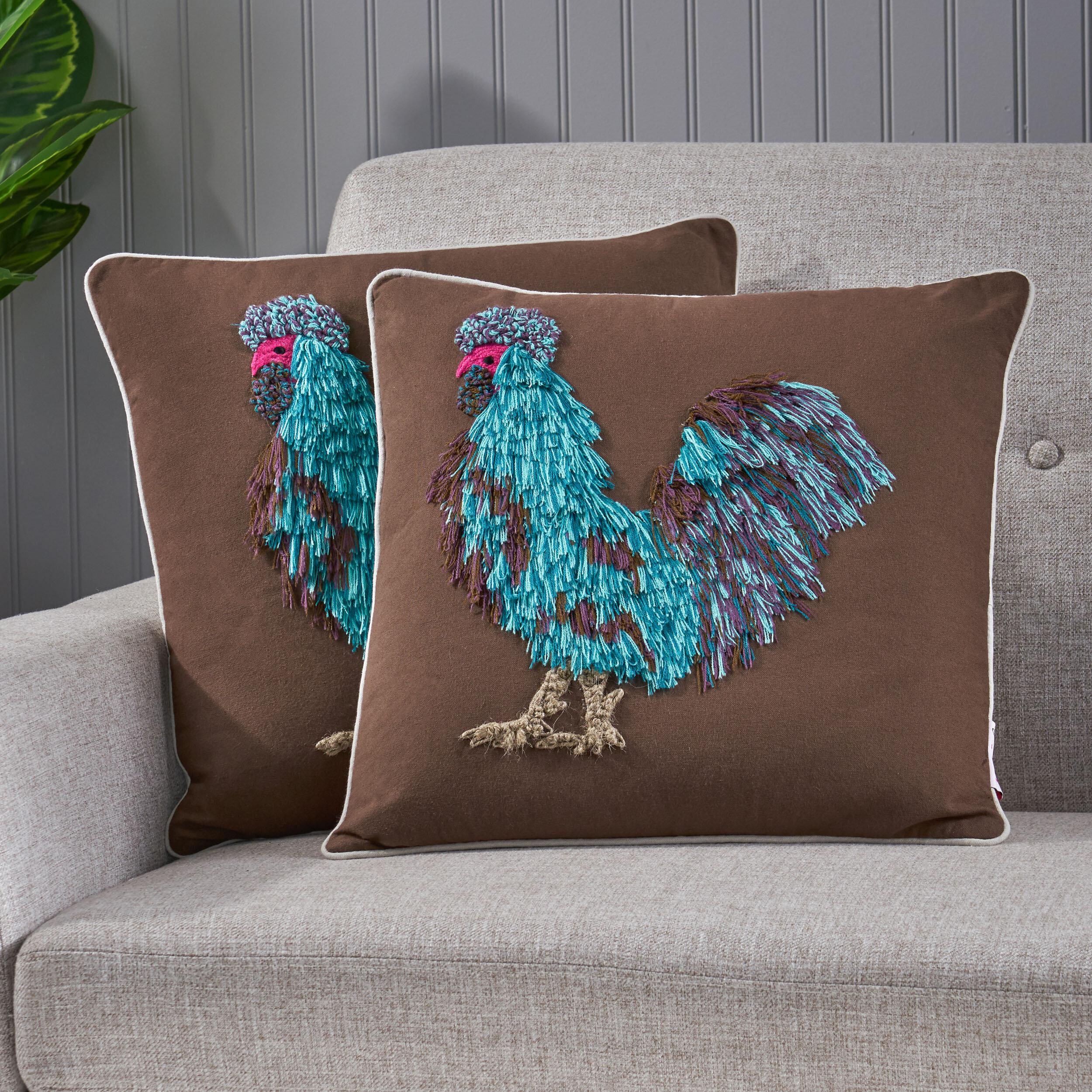 August Grove Zoe Rooster Cotton Throw Pillow Wayfair
