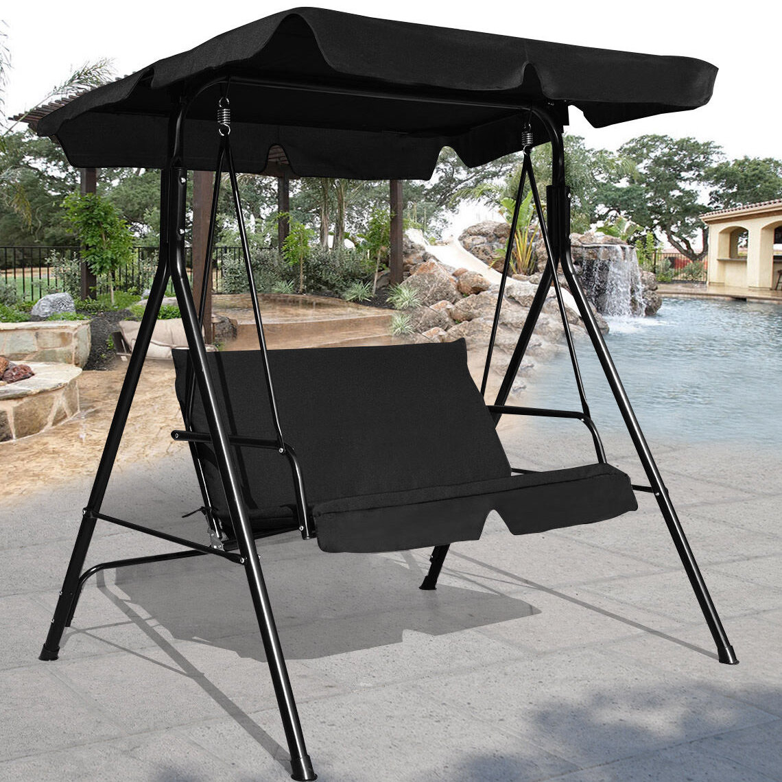 recliner shade patio with outdoor hammock black rattan s swing bed canopy garden sun pin