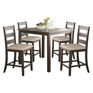 Catalina 5 Piece Solid Wood Counter Height Dining Set