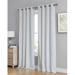 Farnham Damask Abstract Max Blackout Thermal Grommet Curtain Panels (Set of 2) by Canora Grey