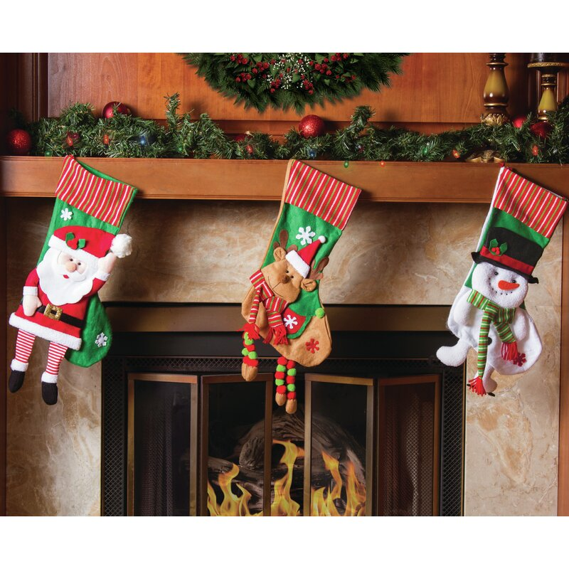The Holiday Aisle 3 Piece Knitted Trim Christmas Stocking Set ...