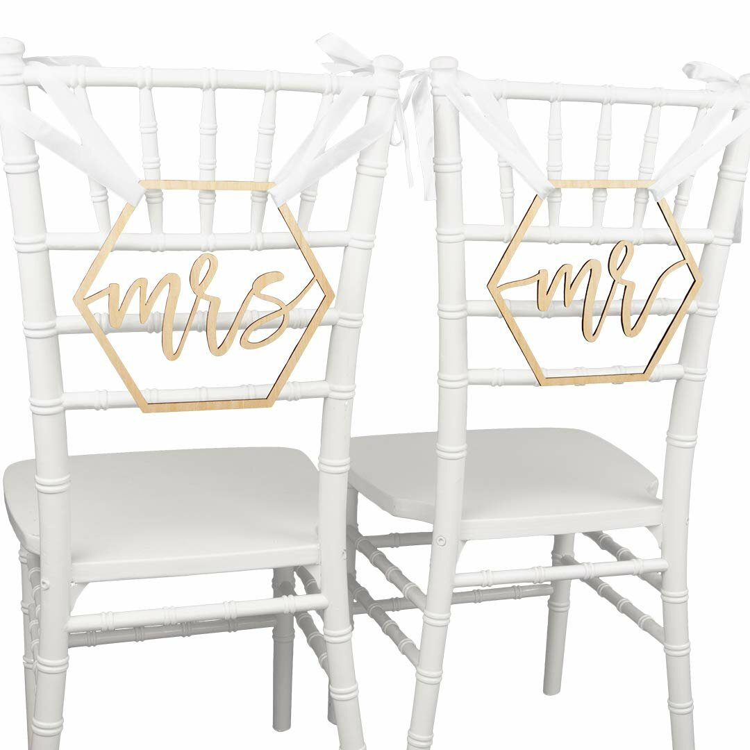 Remarkable Mr Mrs Chair Signs Set Of 2 Scripted Hexagon Laser Cut Wood Chair Back Signs Pdpeps Interior Chair Design Pdpepsorg