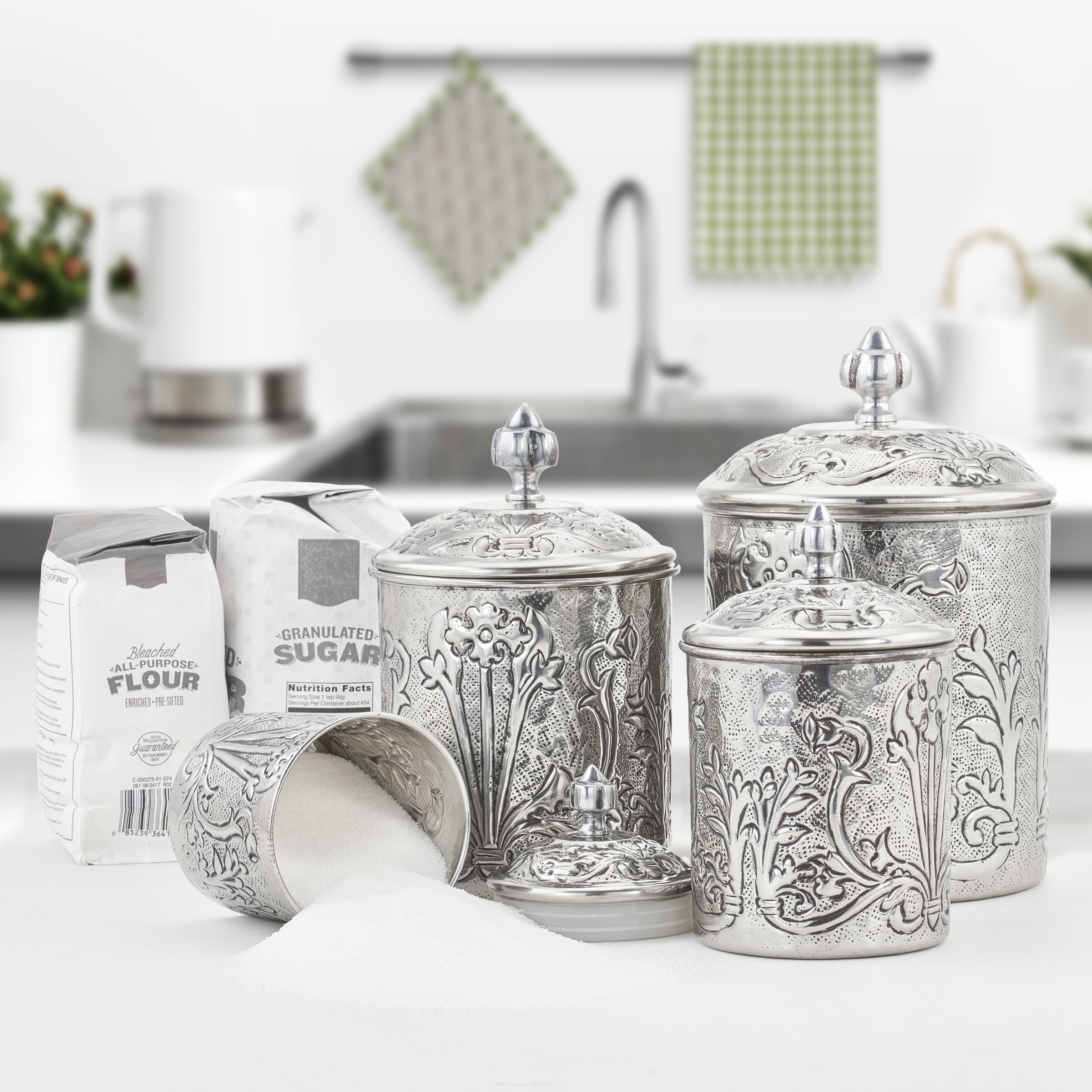 Art Nouveau Stainless Steel 4 Piece Kitchen Canister Set