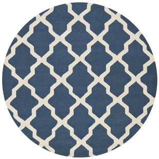 Mahoney Lattice Hand-Tufted Wool Navy Blue Area Rug by Winston Porter
