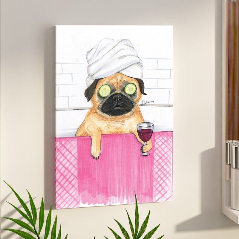 'Pug Bath' Print on Canvas