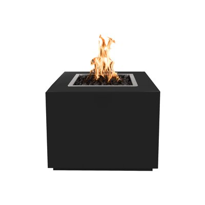 """The Outdoor Plus Forma Steel Fire Pit Table  Finish: Black, Size: 24"""" H x 42"""" W x 42"""" D, Fuel Type: Propane"""