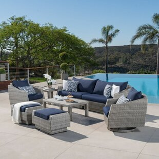 Greenfield Deluxe 8 Piece Rattan Sunbrella Sofa Seating Group with Cushions by Wade Logan