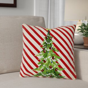 Christmas Tree Stripes Throw Pillow
