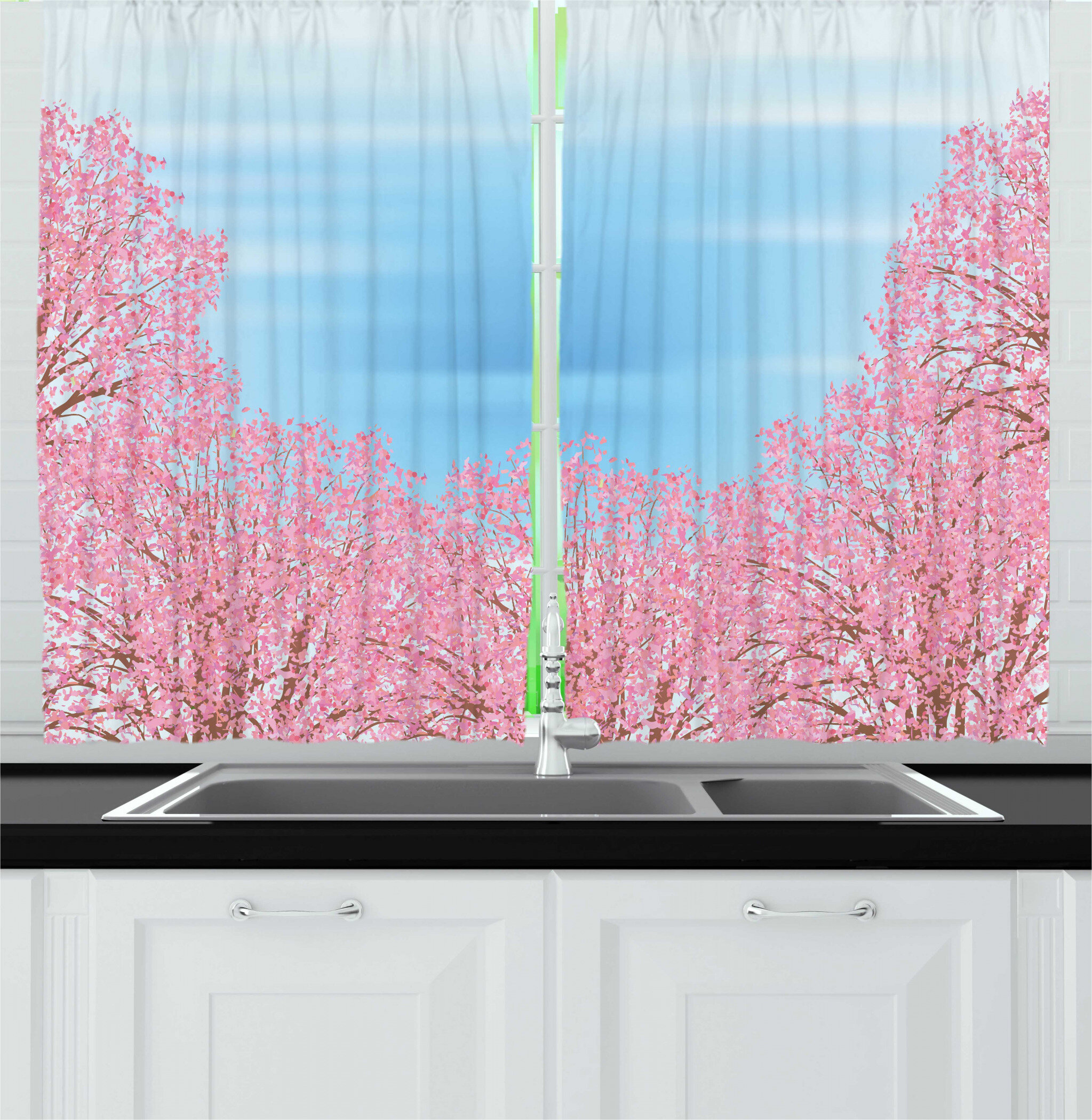 East Urban Home 2 Piece Blue And Pink Pinkish Cherry Blossom Trees In Spring Image Kitchen Curtain Set Wayfair