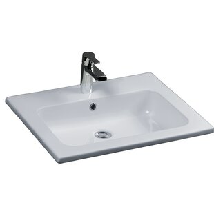 Best Price Cilla Vitreous China Rectangular Drop-In Bathroom Sink with Overflow By Barclay