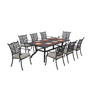 Fleur De Lis Living Belton 9 Piece Dining Set with Cushions
