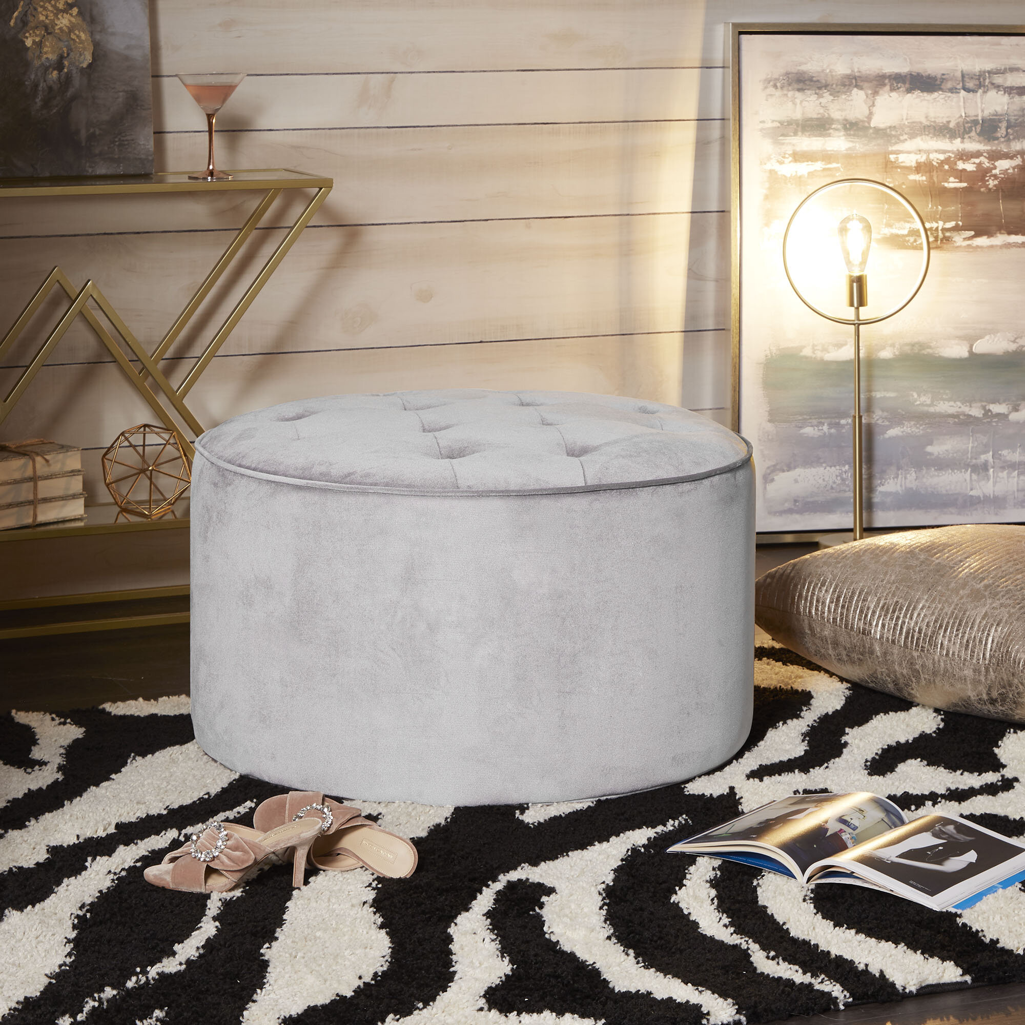 Phenomenal Jeb Large Round Tufted Cocktail Ottoman Gmtry Best Dining Table And Chair Ideas Images Gmtryco