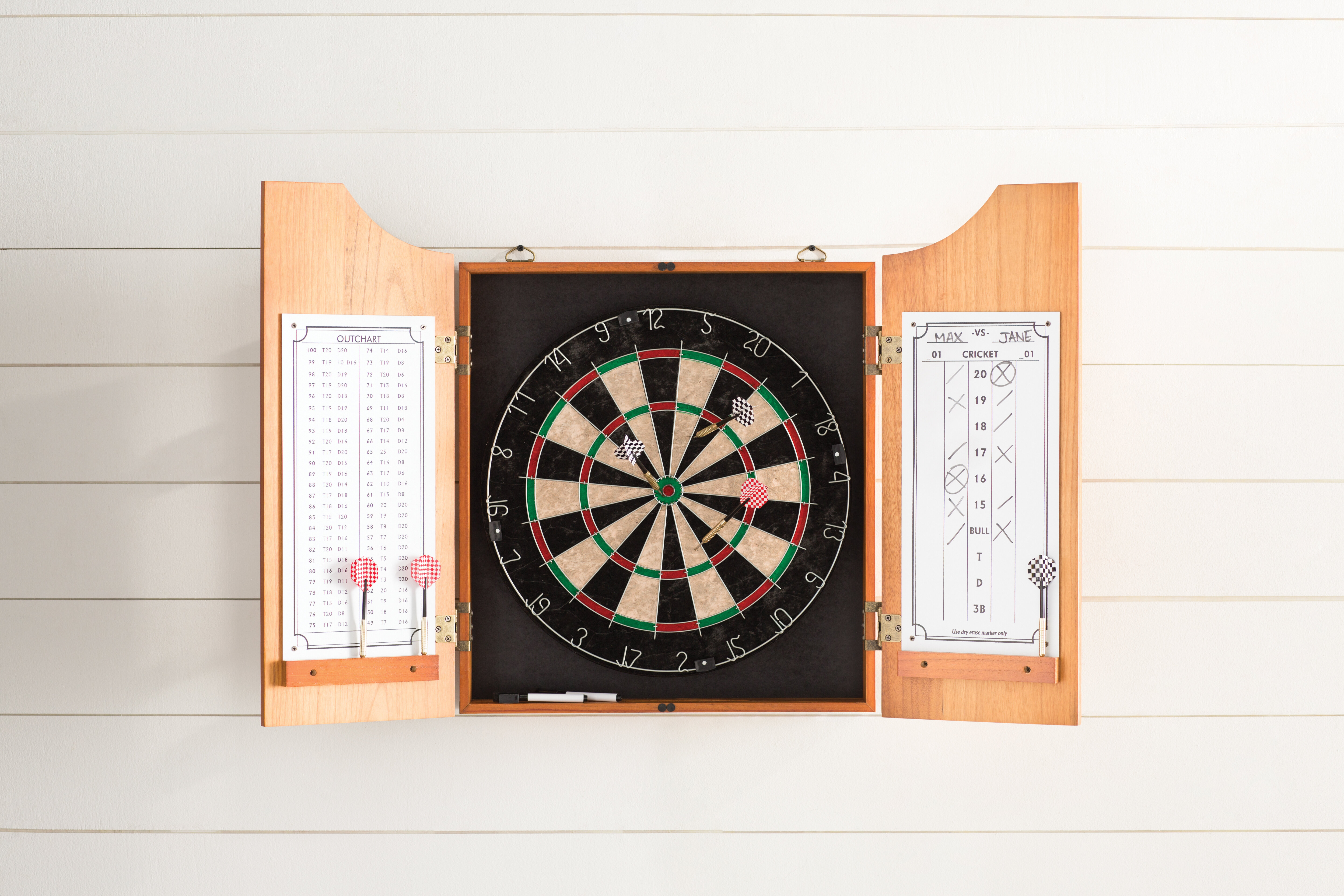 Trademark Solid Wood Dart Cabinet With Dartboard And Darts Reviews Wayfair
