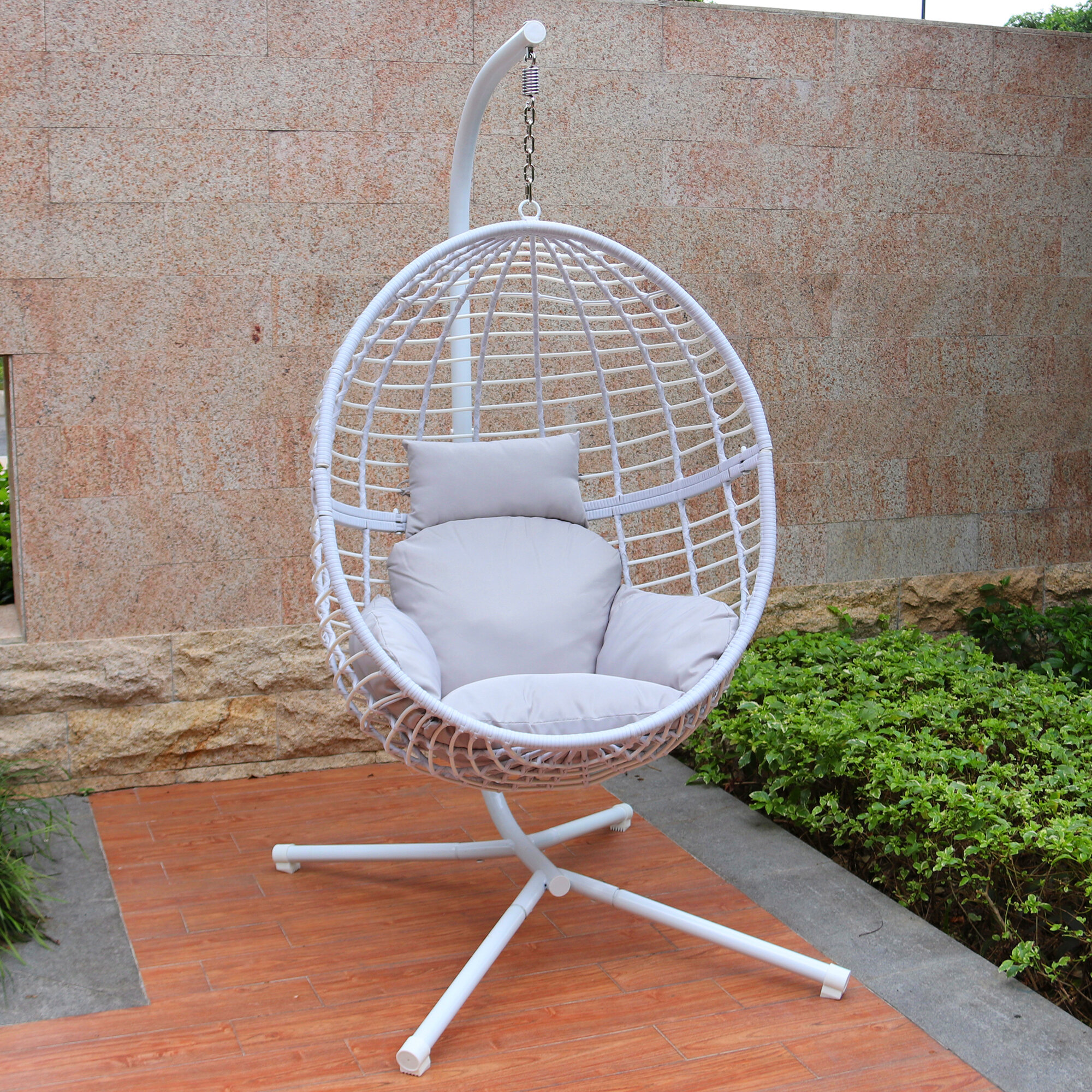 Tremendous Wolsingham Outdoor Wicker Hanging Basket Swing Chair With Stand Creativecarmelina Interior Chair Design Creativecarmelinacom