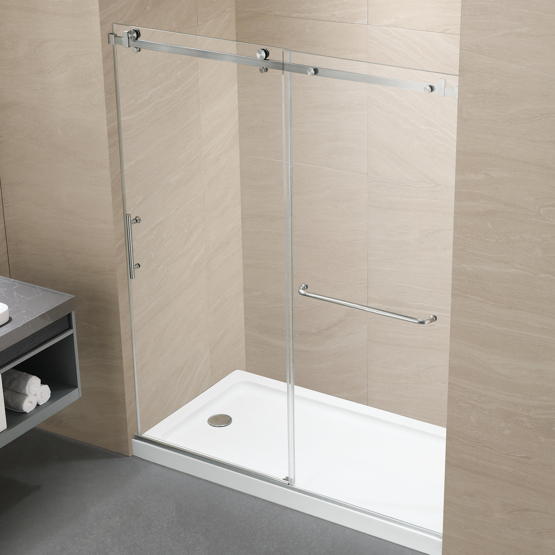 Latitude Run Mccoole 60 W X 76 H Single Sliding Frameless Shower Door With Heat Soaking Process And Protective Coating Treatment Wayfair