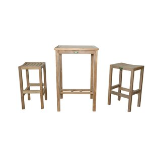 Anderson Teak Avalon 3 Piece Teak Bar Height Dining Set