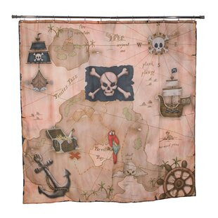 Julius Pirate's Treasure Map Single Shower Curtain by Zoomie Kids New