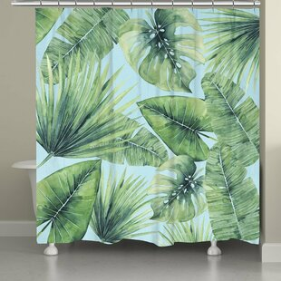 Suhel Tropical Palm Tree Leaves Single Shower Curtain
