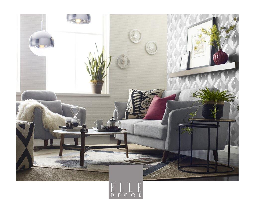 Ledersofa modern  Elle Decor Chloe Mid-Century Modern Sofa & Reviews | Wayfair