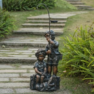 August Grove Fellows Children Fishing Statue
